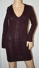 MODA LARGE CABLE KNIT LONG SLEEVE SWEATER DRESS V-NECK SEXY TOP PURPLE XS