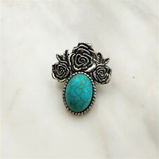 Fashion Jewelry Turquoise Rose Snaps Chunk Charm Button FIT For Noosa Bracelets