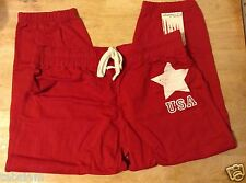 NWT * PJ SALVAGE LIBERTY RING RED CROPPED SWEATPANTS w/STAR :: Sz MED