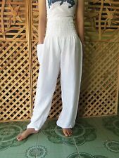 Womens White Long Pants Trousers Baggy Yoga Harem Genie Boho Bohemian New