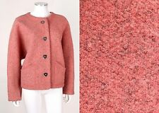 VTG 1970s MISSONI BLUSH PINK BOUCLE BOILED WOOL JACKET MIRRORED BUTTONS SZ M
