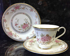 "Royal Doulton ""Canton"" Pattern Tea Cup Trio."