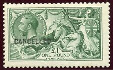 "1913 Waterlow £1 deep green superb MH opt ""Cancelled"". Spec No N72 (2)u"