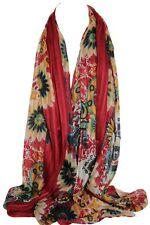Maroon Self Embossed Floral Scarf Stole Sarong Shawl Hijab Head Scarves