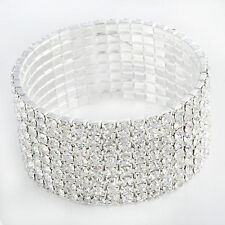 8 Rows CZ White Bridal Crystal Rhinestone Stretch Tennis Bracelet Cuff Wristband