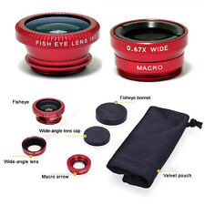 3 In 1 Fish Eye + Wide Angle + Macro Camera Lens Kit For Mobile Phones iPhone