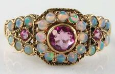 STUNNING VICT INSP PINK TOPAZ & FIERY OPAL 27 ST RING