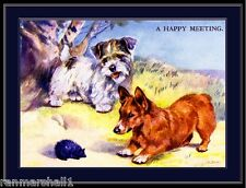 English Picture Poster Print Sealyham Terrier Pembroke Corgi Dog Art