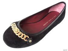new MARC JACOBS black suede GOLD CHAIN TURNLOCK LOGO flats shoes 36.6 US 6.5