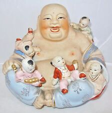 "8.25"" Vintage Chinese Enameled & Painted Porcelain Hotei Buddha with Children"