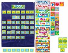 NEW Calendar Pocket Chart Teacher Classroom School Organize Wall Learn Fun Home