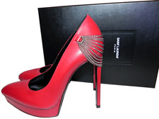 $1095 YVES SAINT LAURENT Red Leather Pointy Toe Pump Platform Shoe 39-8.5 JANIS