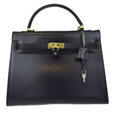 Authentic BALLY Logos Hand Bag Leather Black Gold-Tone Padlock Italy 66L113