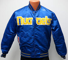 vtg DENVER NUGGETS Starter Satin Jacket MED 80s nba throwback M distrress blue