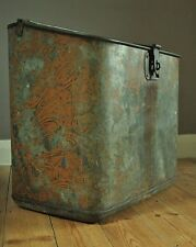 Large Antique Galvanized log / coal bin with hinged lid. Marked Bullas 1918