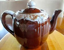 Vintage Brown and White Drip Pottery Tea Pot 5 cups made in Japan