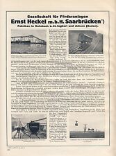 Förderanlage Heckel Saarbrücken Reklame 1926 Muldenkipper Seilbahn Feldbahn