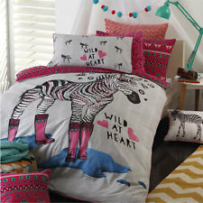 Logan and Mason ZIPPY PINK Zebra Double Bed Size Doona Duvet Quilt Cover Set NEW