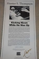 Hunter S Thompson SIGNED Broadside RARE Limited Issue of only 35.  Nixon content