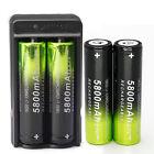 4X SKYWOLFEYE 5800mAh Li-ion 3.7V Rechargeable 18650 Battery + Dual Charger USA