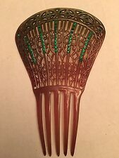 large antique deco celluloid spanish mantilla hair comb emerald green rhinestone
