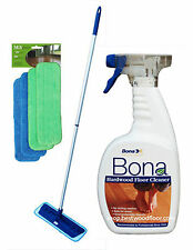 4 Pads Swivel Microfiber Mop Kit / Bona Hardwood Floor Cleaner 32oz  Best Value!