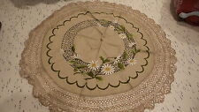 "Antique Embroidered TABLE COVER, VICTORIAN Daisies, Crocheted Edge, 27"" Round"