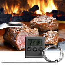 LCD Digital Thermometer Timer Gauge BBQ Meat Grill Kitchen Oven Cooking Food