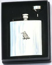Woodcock Standing 6 oz Hip Flask Personalised Shooting Gift Boxed FREE ENGRAVING