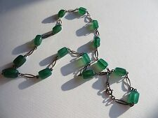 "Antique Art Deco Emerald Chrysoprase Sterling Links Necklace 25"" inches long"
