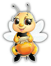 Cute Bee Car Bumper Sticker Decal 4'' x 5''