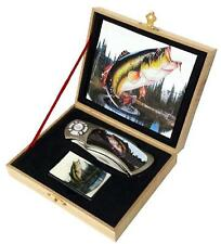FISH KNIFE w OIL LIGHTER IN DISPLAY BOX steel KN480 hunting fishing knives new