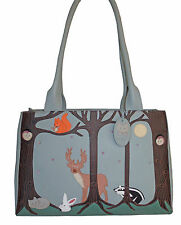 45% OFF CICCIA CAT FOREST FRIENDS DUSKY BLUE LEATHER SHOULDER BAG RRP £130
