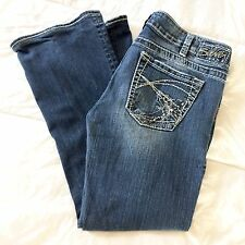 Silver Jeans Tuesday Distressed Boot Cut Stretch Studded Petite Short 30 x 27
