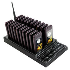 New 20 Restaurant Coaster Pager Guest Call Wireless Paging Queuing System+Track