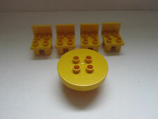 Lego Duplo Brick House Home Kitchen Table Chair Yellow Lot Set