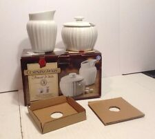 Corning Ware French White 3 Piece Creamer Covered Sugar Bowl Set MINT IN BOX NEW