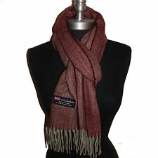New 100% Cashmere Scarf Light Wine Twill Check Plaid Wool Soft Unisex (#G08)