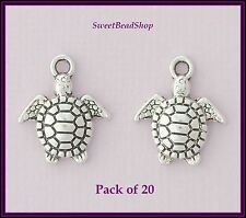 20 antique couleur argent 16 x 14mm Mignon Charms tortues de mer
