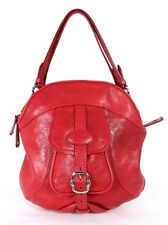 TOD'S Lipstick Red Grained Leather Buckle Front Pocket Satchel Bag
