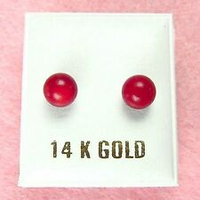 14K Yellow Gold - 6mm Red Coral Ball Stud Earrings (GE247)