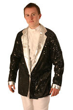 BLACK & SILVER VELOUR SEQUINNED JACKET - STAG - DSICO - 70's - XMAS