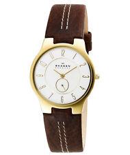 Skagen Casual Gold Steel Men's Watch with Dark Brown Leather Bracelet 433LGL1