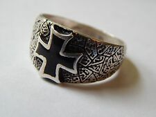 Vintage Black Silver Maltese Iron Cross 80s Motorcycle Biker Ring Size 13.5