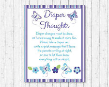 Lavender Butterfly Garden Diaper Thoughts Late Night Diaper Baby Shower Game