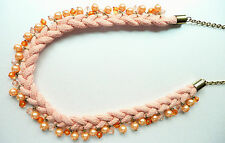 VERY UNUSUAL LONG NECKLACE - PLAITED DESIGN WITH BEAUTIFUL PEARLS AND SMALL BEAD