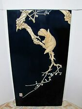 Antique Asian Eagle on Black Lacquer Panel.