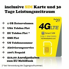 H2O Wireless - Prepaid USA SIM Karte inclusive 30 Tage Tarif