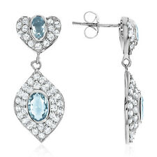 Simulated Aquamarine & Cubic Zirconia Dangle Earrings in Sterling Silver