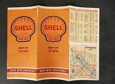 1941 Iowa  map shell gas oil city insert Waterloo Rock Island Des Moines